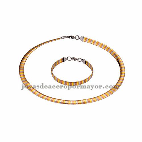 gargantilla y brazalete ancho 8mm tres color en acero inoxidable -SSNEG462689