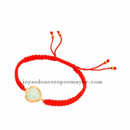 pulseras tejidas moda en color rojo con piedra  aguamarina para mujer ACBTG00024