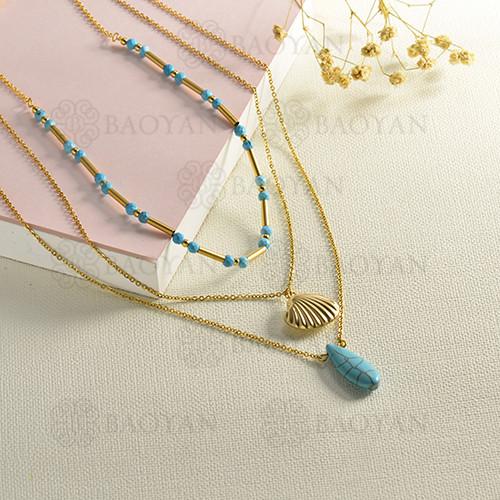 conjunto de collar y aretes en acero inoxidable -SSNEG142-15084