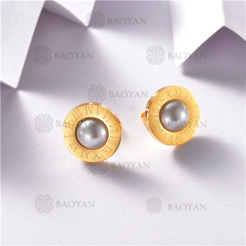 Aretes de Perlas Acero Inoxidable -SSEGG143-8441