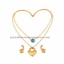 dije de abolorios celeste con corazon dorado y arete venta online