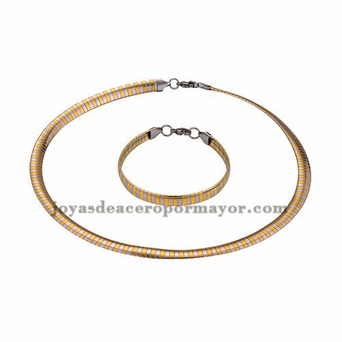 gargantilla y brazalete 8mm de dorado mezcla plateado en acero inoxidable-SSNEG462691
