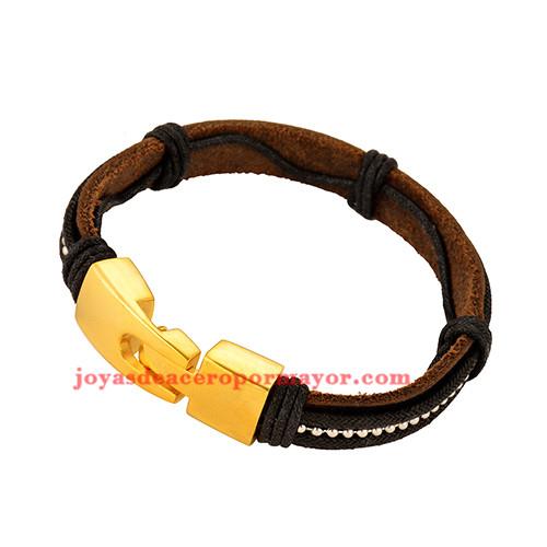pulsera de artesanales negro en acero inoxidable de dorado-SSBTG163742
