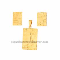 dije y aretes de moda en acero de dorado para mujer-SSSTG073443