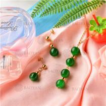 Conjunto de Collar y Aretes de Acero Inoxidable -SSNEG18-9139