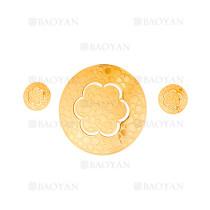 juego colgante y aretes de flores lindo dorado acero inoxidable -SSSTG184146