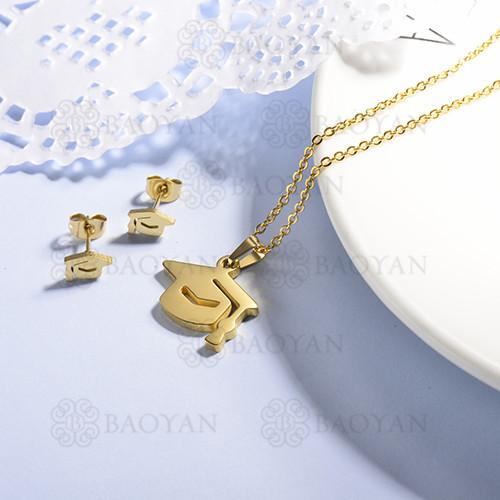conjunto de collar y aretes en acero inoxidable -SSCSG143-15367