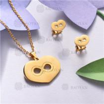 Conjunto de Acero inoxidable en Color Oro Dorado-SSNEG143-11030