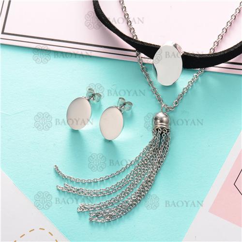 Counjunto de Collar y Aretes en Acero Inoxidable -SSNEG126-6976