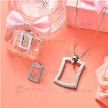 Conjunto de Collar y Aretes en Acero Inoxidable -SSNEG126-10143