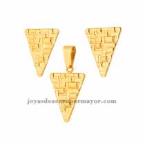 dije y aretes de moda en acero de dorado para mujer-SSSTG073394