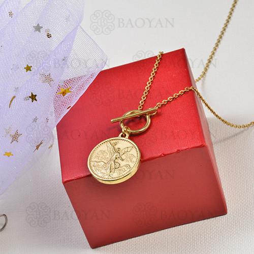 collar de charms moneda en acero inoxidable -SSNEG142-16235