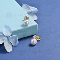 aretes de perla en acero inoxidable -SSEGG143-10241-E