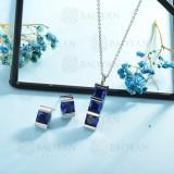 conjunto de collar y aretes en acero inoxidable -SSCSG126-15013