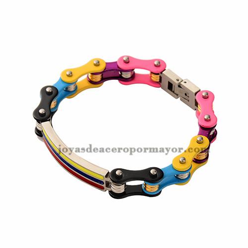 cadena de la bicicleta en colores del arco iris de acero inoxidable por mayor-SSBTG382327