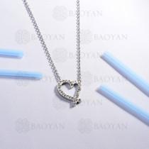 collar de acero inoxidable para mujer -SSNEG143-14804-S