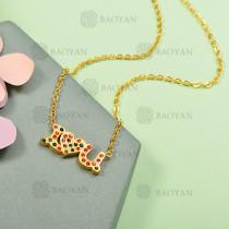 Collar de Acero Inoxidable con Cristal Multicolor -SSNEG143-12588