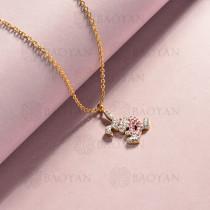 collar de acero inoxidable para mujer -SSNEG143-14827-G