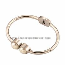 pulseras de plata mujer con dos perlas joyer¨ªa de acero inoxidable