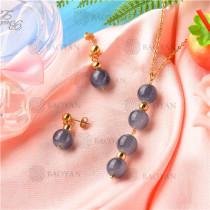 Conjunto de Collar y Aretes de Acero Inoxidable -SSNEG18-9141