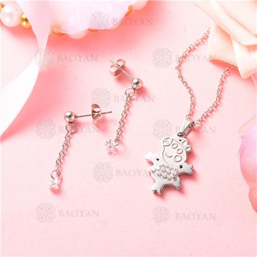 conjunto de joyas acero plateado inoxidable -SSNEG129-9709