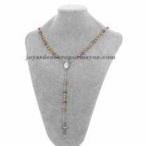 collar de bola dorado con dije santa cruz en acero plateado inoxidable - SSNEG951903