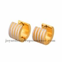 argollas 13mm de rayas plateado en acero dorado inoxidable -SSEGG384234