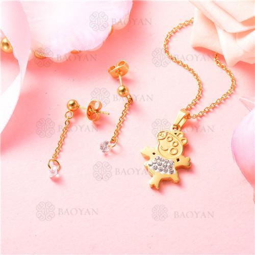 conjunto de joyas acero dorado inoxidable -SSNEG129-9708