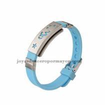 azul brazalete con estrellas de silicona en acero para mujer-SSBTG942905