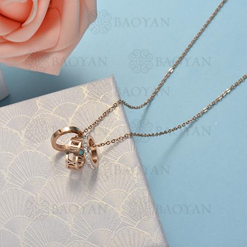 collar de color oro rosado en acero inoxidable -SSNEG175-15883