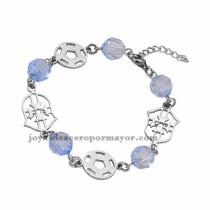 brazalete de bola cristal azul en acero plateado inoxidable -SSBTG953646