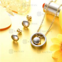 conjunto de joyas acero plateado inoxidable -SSNEG126-9611