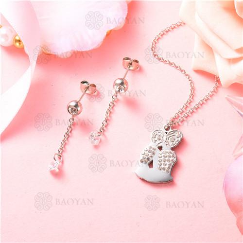 conjunto de joyas acero plateado inoxidable -SSNEG129-9707