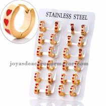 argollas 13 mm de corazon rojo en acero dorado inoxidable -SSEGG383957