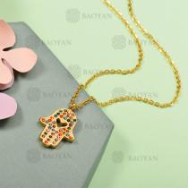 Collar de Acero Inoxidable con Cristal Multicolor -SSNEG143-12586