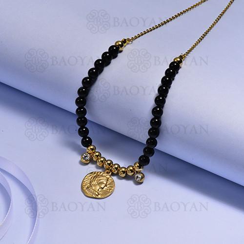 collares de Acero Inoxidable medalla para Mujer -SSNEG171-14723