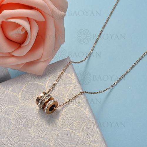 collar de color oro rosado en acero inoxidable -SSNEG175-15885