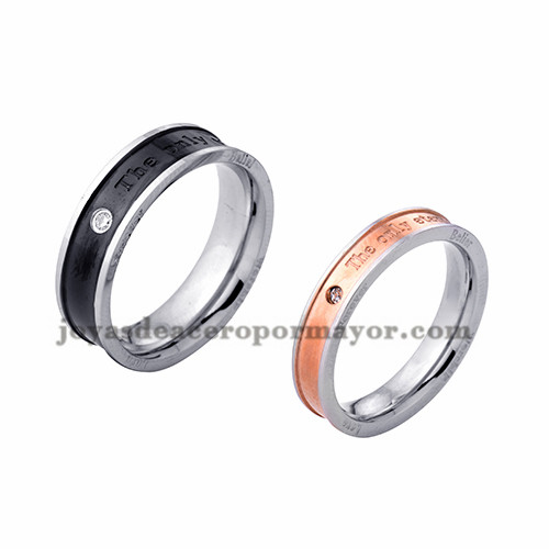 anillo de estilo simple moda en acero plata inoxidable para amantes -SSRGG971718