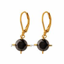 aretes con cristal negro oscuro en acero de plateado-SSEGG163779_1