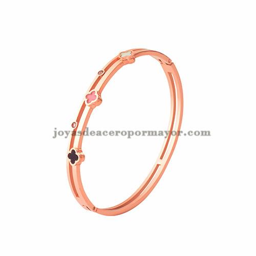 pulsera de trebol de oro rosado en acero inoxidable para mujer-SSBTG403752