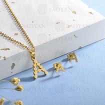 conjunto de collar y aretes en acero inoxidable -SSCSG143-15351-G