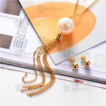 Conjunto de Collar y Aretes en Acero Inoxidable -SSNEG18-7169
