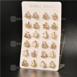 Aretes Pequeno en Acero Dorado -SSEGG103-5335