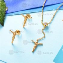 conjunto de joyas acero dorado inoxidable -SSNEG126-9589
