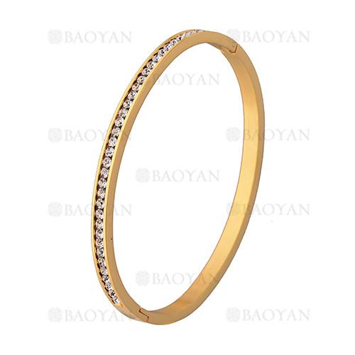 pulsera de brillante cristal en acero dorado inoxidable -SSBTG1225545