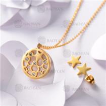 Conjunto de Acero inoxidable en Color Oro Dorado-SSNEG143-10840