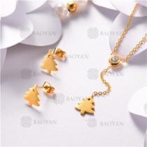 Conjunto de Acero Inoxidable Oro Dorado -SSNEG126-10473