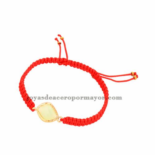 pulseras tejidas moda en color rojo con piedra critine para mujer ACBTG00020