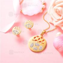 conjunto de joyas acero dorado inoxidable -SSNEG129-9698