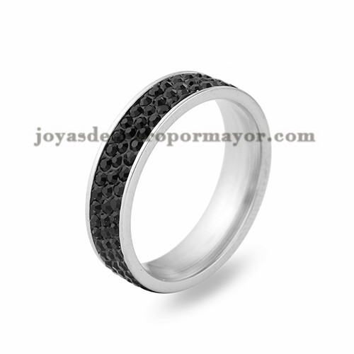 anillo con cristal de nego en acero para mujer-SSRG243_ 3